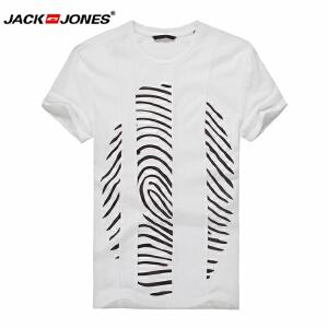 杰克琼斯/JackJones时尚百搭新款T恤 指纹-1-2-6-215101021020