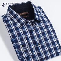 浪登男装春季新款尖领男版衬衣休闲格子纯棉修身长袖衬衫G5015