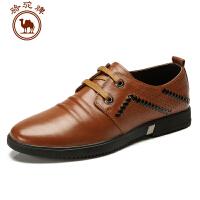骆驼牌春季新品 头层牛皮日常休闲皮鞋 耐磨低帮男士鞋子流行