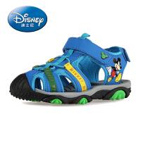 迪士尼儿童鞋 男童鞋儿童凉鞋2016夏季新款沙滩鞋真皮大童鞋包头
