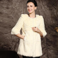 CITYSAILR 冬装特卖女士七分袖獭兔毛皮草 冬装新款中长款时尚外套