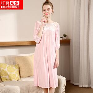 红豆居家春季新款新款睡裙 女士春夏中袖长款蕾丝花边时尚休闲睡衣