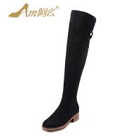 【冬季清仓】阿么绒面高筒靴中跟长靴粗跟修腿显瘦过膝靴子欧美保暖女鞋子