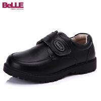 百丽真皮童鞋英伦儿童表演鞋学生鞋时装鞋男童黑色经典复古皮鞋DE0193