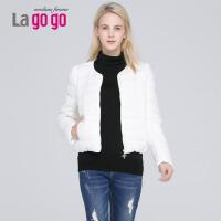 Lagogo/拉谷谷羽绒服冬季新款白色修身纯色薄短款泡泡袖羽绒服女 EDF437G109