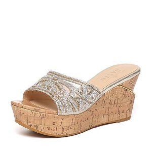 BASTO/百思图夏季专柜同款亮片布时尚优雅坡跟女鞋TBZ02BT6