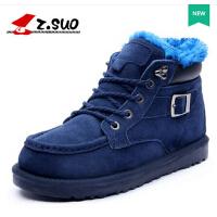 走索英伦雪地靴男鞋冬季男士棉鞋 加绒男靴保暖短靴情侣男女靴子zs5989