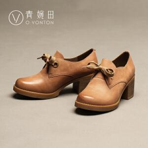 青婉田春鞋女2017新款英伦风女鞋单鞋真皮厚底高跟鞋复古粗跟鞋子