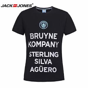 杰克琼斯/JackJones时尚百搭新款T恤 黑色英文--3-3-4-217101560E40