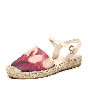 BATA/拔佳夏季专柜同款羊绒皮平跟女凉鞋AS702BL6 夏季新款