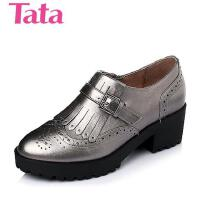 Tata/他她春季专柜同款贴膜牛皮女单鞋2H622AM6