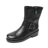 Teenmxi/天美意冬专柜同款打蜡牛皮女皮靴6C761DZ5 专柜1
