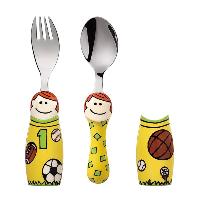 创意卡通/可爱/水果饭汤搅拌便携餐具运动男孩两件套