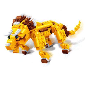 邦宝 创意拼插积木 儿童益智教玩具 动物三合一 三角龙=恐龙 老虎6852