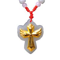 梦克拉 和田玉白玉十字架金镶玉吊坠  守护十字架  3D硬金十字架吊坠翅膀创意造型男女款