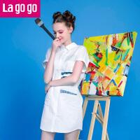 Lagogo/拉谷谷夏季新款印花POLO衬衫女短袖韩版时尚百搭中长款FBB940D733