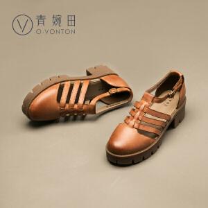 青婉田2017夏季新款粗跟凉鞋厚底坡跟凉鞋松糕镂空罗马女鞋真皮高跟凉鞋女