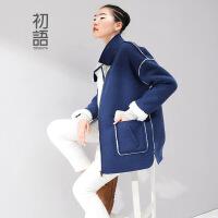 初语冬季新款 仿羔羊毛反边H廓形中长款宽松大衣女装外套女8441412025