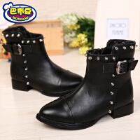 巴布豆童鞋 女童短靴冬季女童鞋马丁靴童靴保暖中大童女童靴子潮