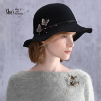 【专柜同款】She's茜子 浪漫刺绣蝴蝶渔夫帽 秋冬羊毛帽子女  毛呢帽
