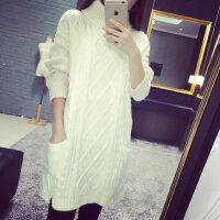 高领毛衣女冬加厚学生韩国中长款宽松线衣粗线冬款女士长款连衣裙