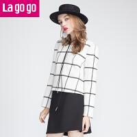 Lagogo/拉谷谷冬新款毛呢套装裙女两件套 EDA684B346