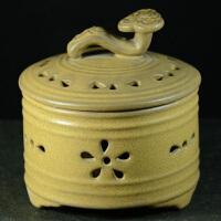 德化陶瓷香炉 紫陶如意盘香炉 香道工艺品 仿古家居摆件