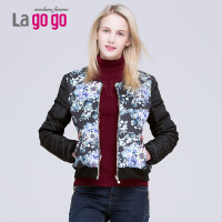 Lagogo/拉谷谷冬季新款修身圆领印花短款羽绒服EDF435J419
