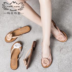 玛菲玛图 外出夹板拖鞋女夏时尚外穿17新款个性花朵人字拖室外复古小跟凉鞋2611-10
