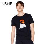 NSNF纯棉刺绣雄鸡图案黑色短袖T恤 2017春夏新款