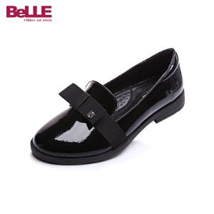 百丽童鞋女童皮鞋2017春夏新款儿童黑色亲子鞋英伦风学生鞋中大童DE0310