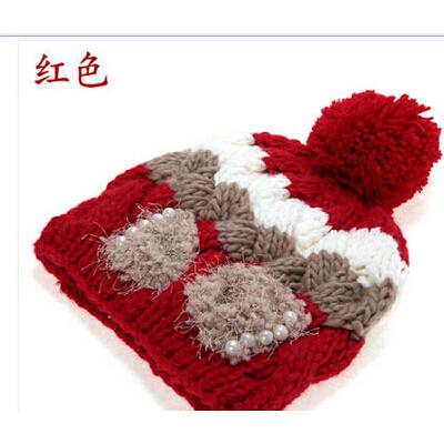 可爱韩版潮 韩国毛线帽女 女士帽子冬天针织帽 秋冬季帽子_西瓜红