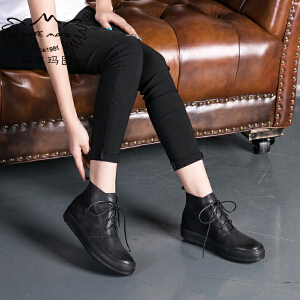 玛菲玛图秋冬休闲靴马丁靴女复古擦色文艺风短靴女系带单靴子362-3L秋季新品
