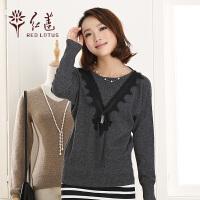 红莲 新款纯山羊绒蝙蝠袖圆领蕾丝拼接女士羊绒衫