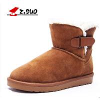 走索英伦冬季潮流雪地靴保暖短靴加绒男士棉鞋加厚中筒真皮靴子男