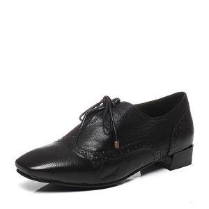 BASTO/百思图2017春季专柜同款羊皮布洛克方跟系带女皮鞋17A07AM7