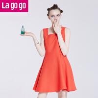 Lagogo/拉谷谷秋季新款纯色修身吊带无袖连衣裙FBB955G328