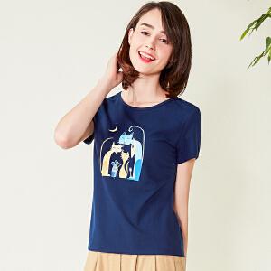 2017新款女装打底衫圆领印花短袖t恤女修身韩版百搭上衣DTXD170307