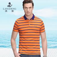 浪登2017夏季新品撞色条纹短袖衬衫 男士商务休闲Polo衫YD042