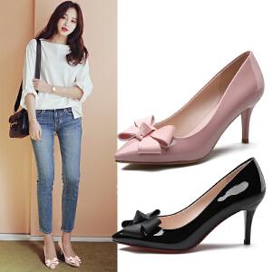 阿么2017春季新款漆皮高跟鞋蝴蝶结浅口细跟黑色工作鞋尖头女鞋子