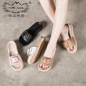 玛菲玛图 拖鞋女夏时尚外穿百搭厚底一字凉鞋2017夏季方扣真皮粉色凉拖鞋潮 815C-17