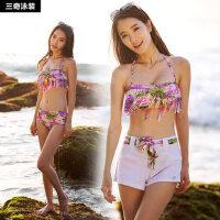 新款三奇泳衣女比基尼三件套聚拢钢托大码性感温泉泳装