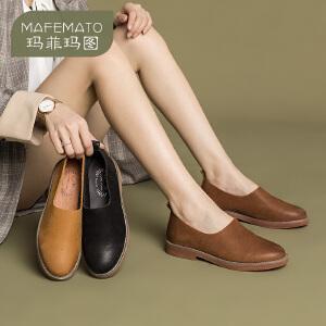 玛菲玛图真皮低跟单鞋女一脚蹬懒人鞋乐福鞋时尚百搭女鞋 108-21S