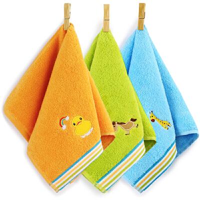 [当当自营]三利 纯棉卡通绣花儿童毛巾 25×50cm 柔软彩边洗脸面巾 混色3条装
