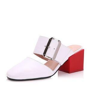 Belle/百丽2017夏时尚牛皮方跟方头皮带扣女凉鞋32801BH7