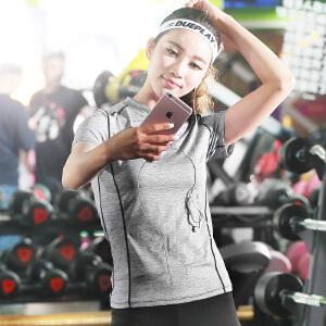 【99元三件】渔民部落 运动短袖t恤女跑步健身弹力速干透气瑜伽服