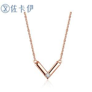 佐卡伊玫瑰18k钻石链牌钻石项链女款时尚项坠吊坠女正品珠宝首饰