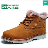 冬季保暖雪地靴加绒休闲男士棉鞋韩版棉靴短靴真皮靴子男鞋
