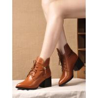 贝鸵秋冬真皮短靴粗跟小尖头牛皮靴子女系带高跟加绒女靴方跟9343
