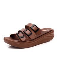 领舞者春夏季新款女凉鞋舒适坡跟拖鞋厚底凉拖松糕鞋高跟鱼嘴鞋子